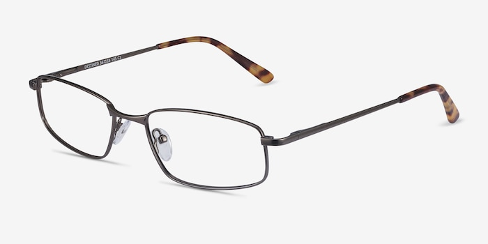 Destined Gunmetal Metal Eyeglass Frames from EyeBuyDirect, Angle View