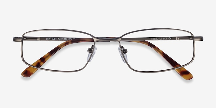 Destined Gunmetal Metal Eyeglass Frames from EyeBuyDirect, Closed View