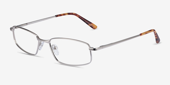 Destined Silver Metal Eyeglass Frames from EyeBuyDirect, Angle View