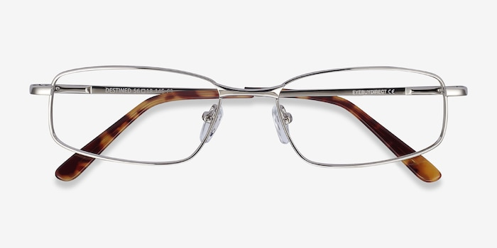 Destined Silver Metal Eyeglass Frames from EyeBuyDirect, Closed View