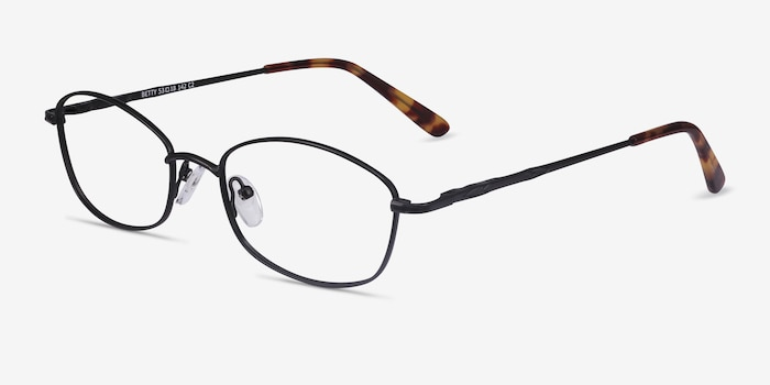Betty Black Metal Eyeglass Frames from EyeBuyDirect, Angle View