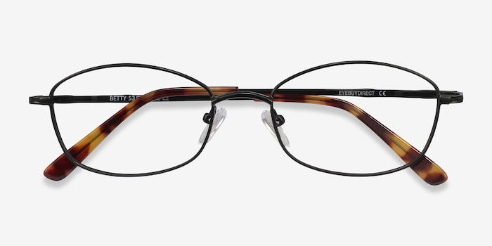 Betty Black Metal Eyeglass Frames from EyeBuyDirect, Closed View