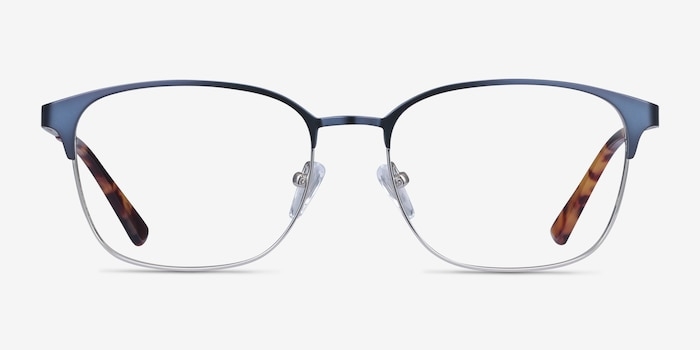 Chambery Blue Metal Eyeglass Frames from EyeBuyDirect, Front View