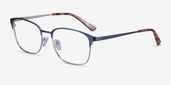Chambery Blue Metal Eyeglass Frames from EyeBuyDirect, Angle View
