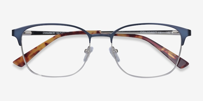 Chambery Blue Metal Eyeglass Frames from EyeBuyDirect, Closed View