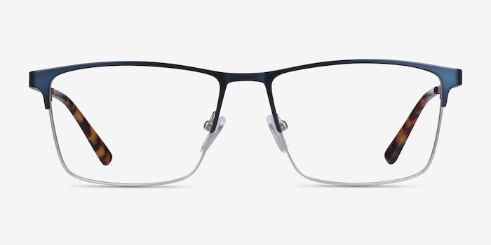 Edito Navy Metal Eyeglass Frames from EyeBuyDirect, Front View