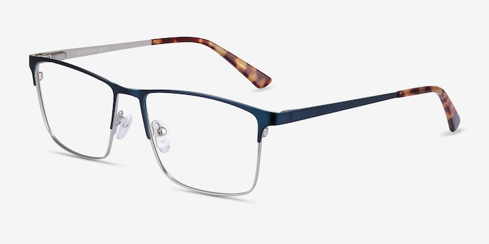Edito Navy Metal Eyeglass Frames from EyeBuyDirect, Angle View