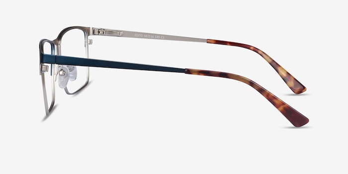 Edito Navy Metal Eyeglass Frames from EyeBuyDirect, Side View