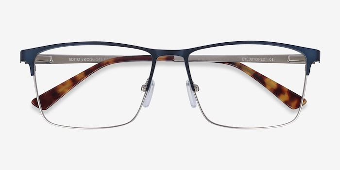 Edito Navy Metal Eyeglass Frames from EyeBuyDirect, Closed View
