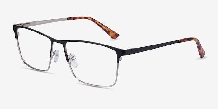 Edito Black Metal Eyeglass Frames from EyeBuyDirect, Angle View