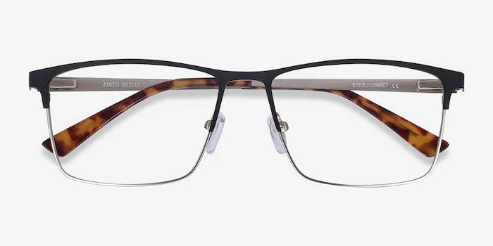Edito Black Metal Eyeglass Frames from EyeBuyDirect, Closed View