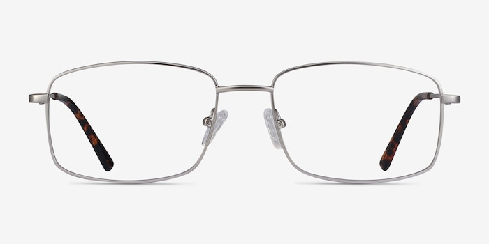 Onex Silver Metal Eyeglass Frames from EyeBuyDirect, Front View