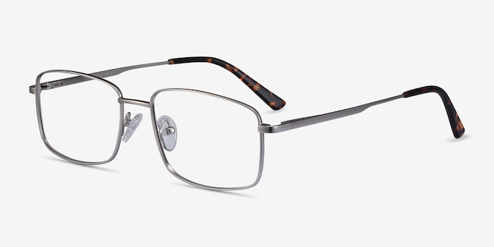 Onex Silver Metal Eyeglass Frames from EyeBuyDirect, Angle View