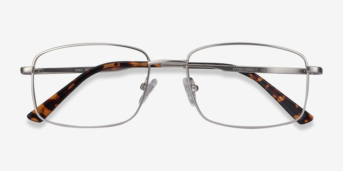 Onex Silver Metal Eyeglass Frames from EyeBuyDirect, Closed View
