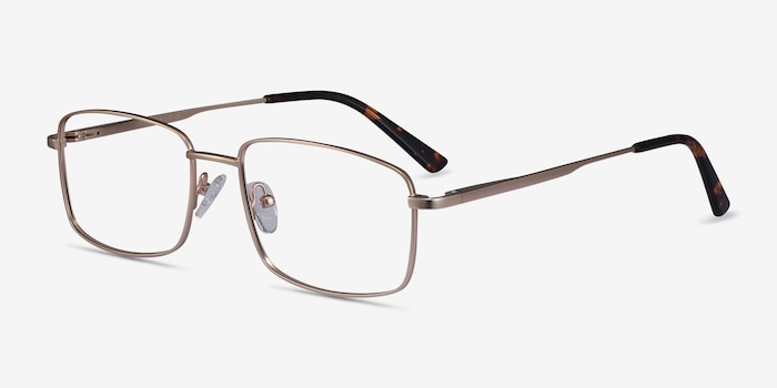 Onex Gold Metal Eyeglass Frames from EyeBuyDirect, Angle View