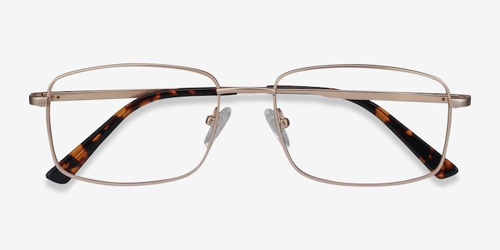 Onex Gold Metal Eyeglass Frames from EyeBuyDirect, Closed View