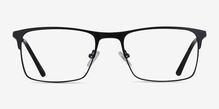 Vigo Black Metal Eyeglass Frames from EyeBuyDirect, Front View