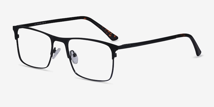 Vigo Black Metal Eyeglass Frames from EyeBuyDirect, Angle View