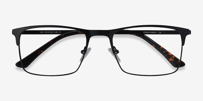 Vigo Black Metal Eyeglass Frames from EyeBuyDirect, Closed View