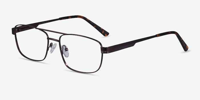 Stan Coffee Metal Eyeglass Frames from EyeBuyDirect, Angle View
