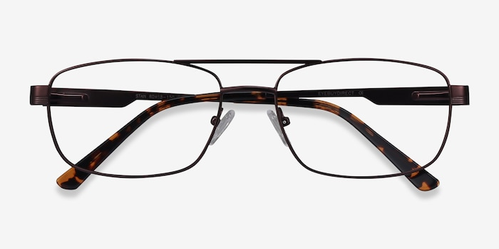 Stan Coffee Metal Eyeglass Frames from EyeBuyDirect, Closed View