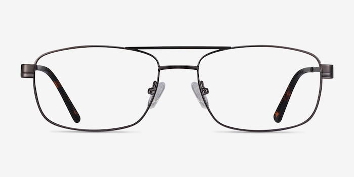 Stan Gunmetal Metal Eyeglass Frames from EyeBuyDirect, Front View