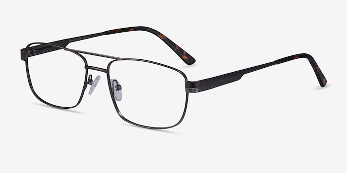 Stan Gunmetal Metal Eyeglass Frames from EyeBuyDirect, Angle View