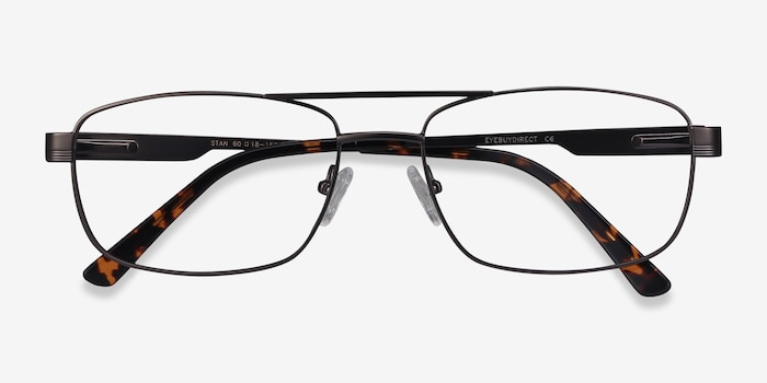 Stan Gunmetal Metal Eyeglass Frames from EyeBuyDirect, Closed View