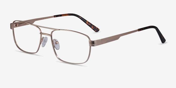 Stan Gold Metal Eyeglass Frames from EyeBuyDirect, Angle View