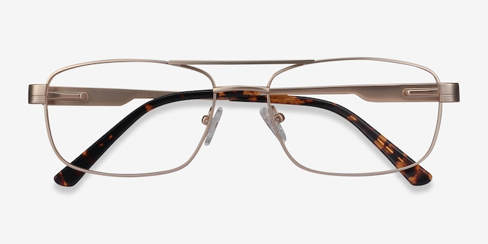 Stan Gold Metal Eyeglass Frames from EyeBuyDirect, Closed View
