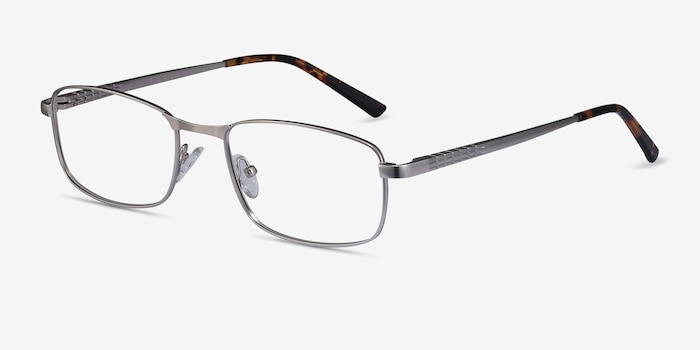 Madon Silver Metal Eyeglass Frames from EyeBuyDirect, Angle View