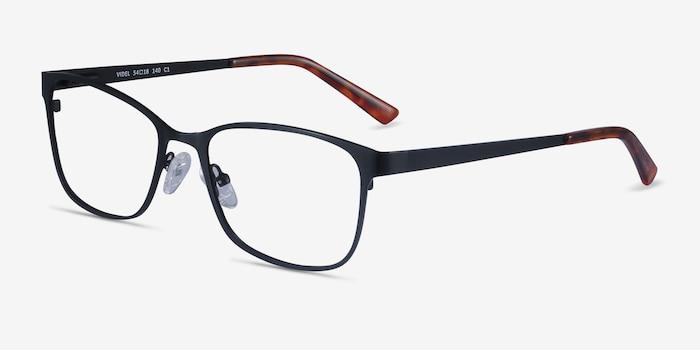 Videl Black Metal Eyeglass Frames from EyeBuyDirect, Angle View