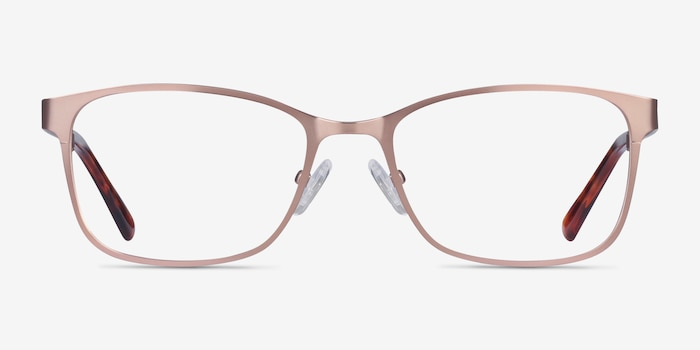 Videl Rose Gold Metal Eyeglass Frames from EyeBuyDirect, Front View