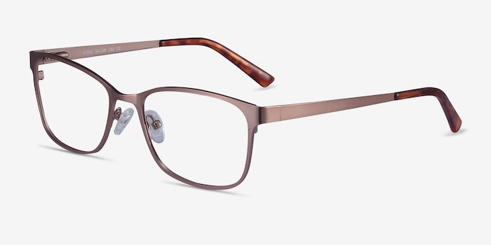 Videl Rose Gold Metal Eyeglass Frames from EyeBuyDirect, Angle View
