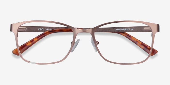 Videl Rose Gold Metal Eyeglass Frames from EyeBuyDirect, Closed View