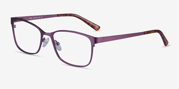 Videl Purple Metal Eyeglass Frames from EyeBuyDirect, Angle View