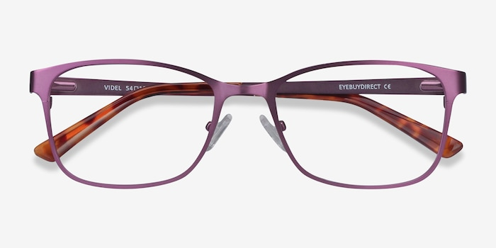 Videl Purple Metal Eyeglass Frames from EyeBuyDirect, Closed View