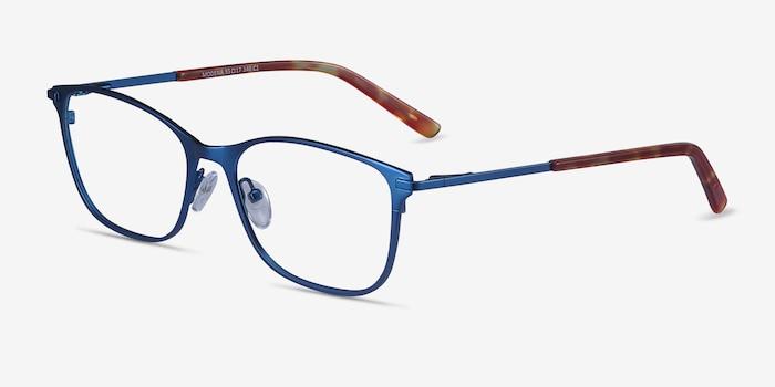 Modena Blue Metal Eyeglass Frames from EyeBuyDirect, Angle View