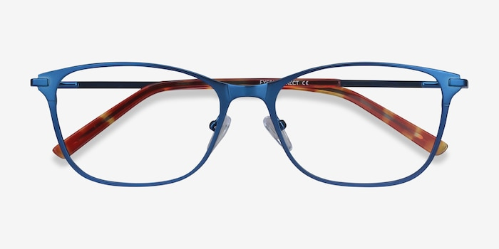 Modena Blue Metal Eyeglass Frames from EyeBuyDirect, Closed View