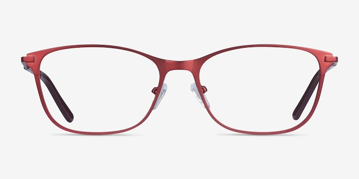 Modena Red Metal Eyeglass Frames from EyeBuyDirect, Front View