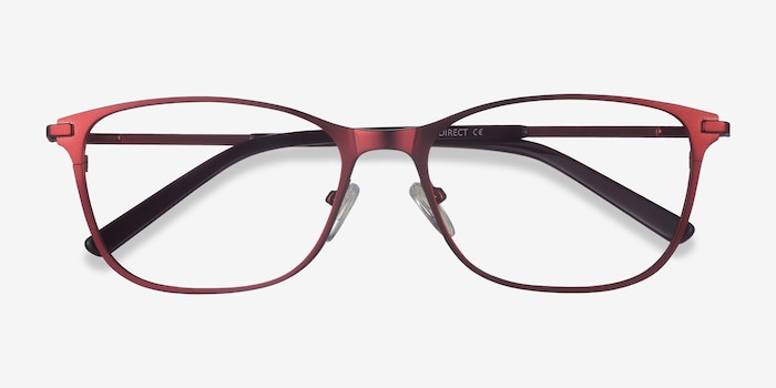 Modena Red Metal Eyeglass Frames from EyeBuyDirect, Closed View