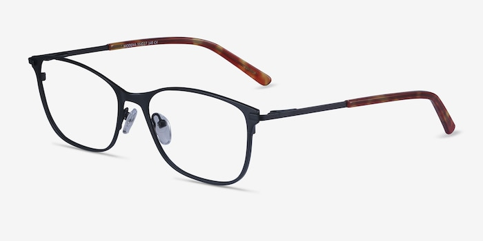 Modena Black Metal Eyeglass Frames from EyeBuyDirect, Angle View
