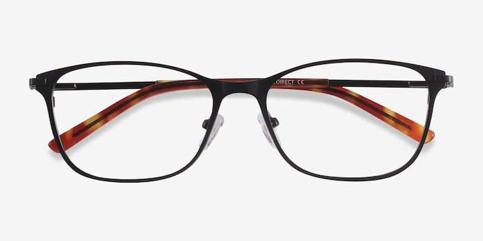 Modena Black Metal Eyeglass Frames from EyeBuyDirect, Closed View