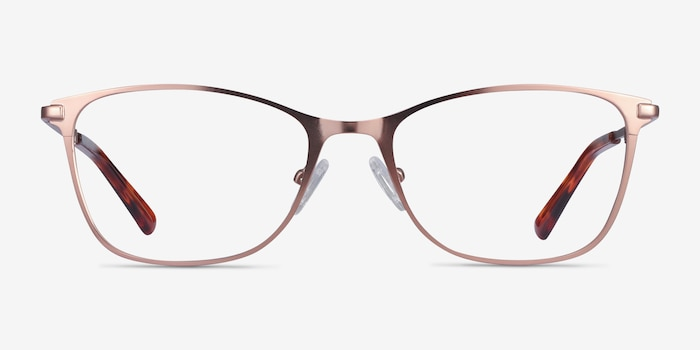 Kasia Rose Gold Metal Eyeglass Frames from EyeBuyDirect, Front View