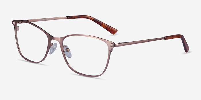 Kasia Rose Gold Metal Eyeglass Frames from EyeBuyDirect, Angle View