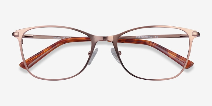 Kasia Rose Gold Metal Eyeglass Frames from EyeBuyDirect, Closed View