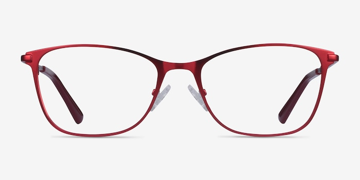 Kasia Burgundy Metal Eyeglass Frames from EyeBuyDirect, Front View