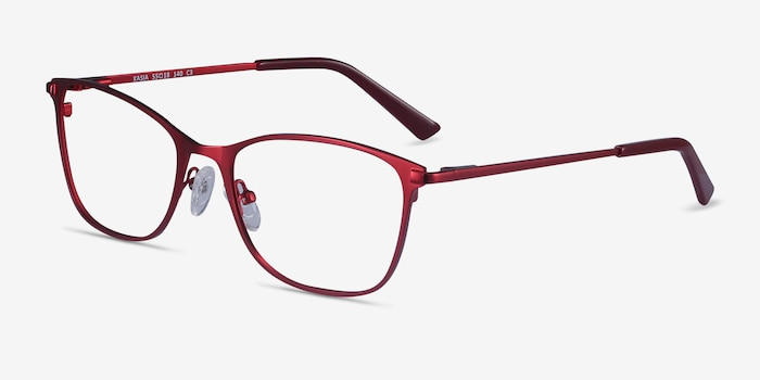 Kasia Burgundy Metal Eyeglass Frames from EyeBuyDirect, Angle View