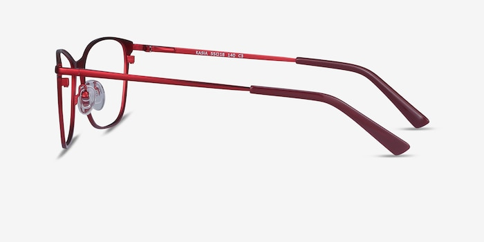 Kasia Burgundy Metal Eyeglass Frames from EyeBuyDirect, Side View
