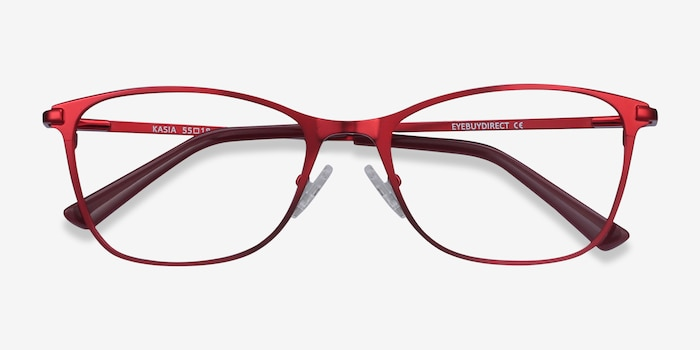 Kasia Burgundy Metal Eyeglass Frames from EyeBuyDirect, Closed View